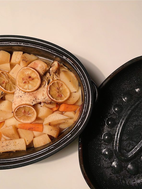 Poulet citronné et légumes cuits au four