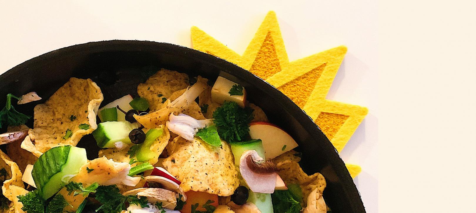 Nachos au poulet et légumes grillés