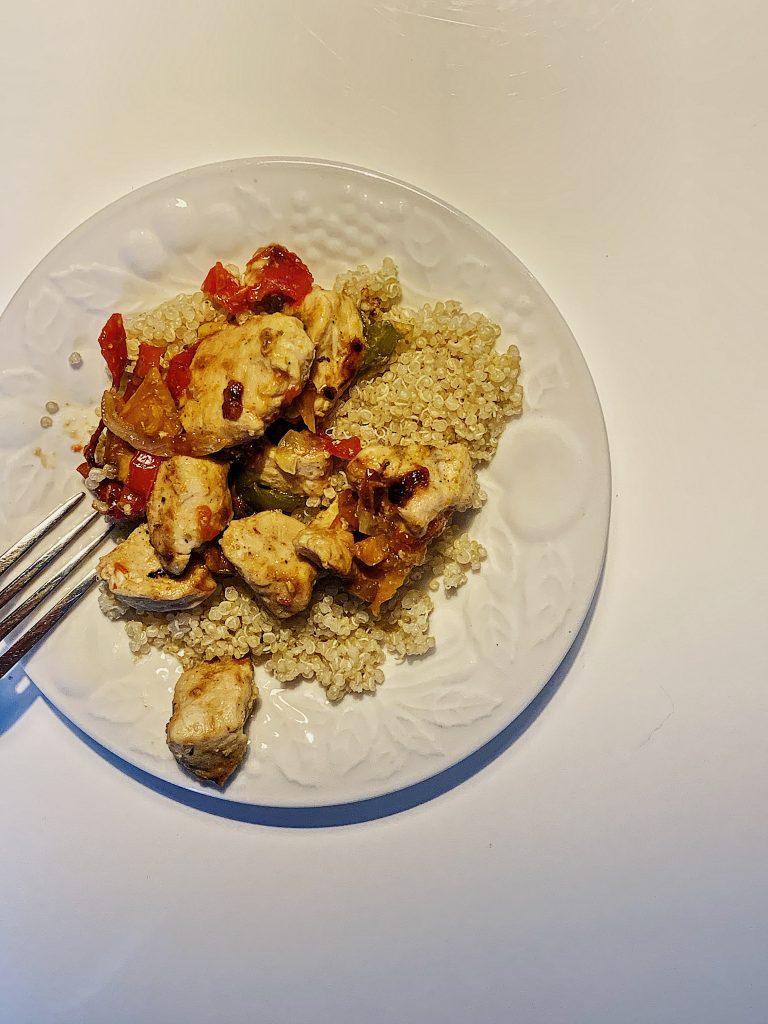 Brochettes de poulet déconstruites au sirop d'érable et sauce soya