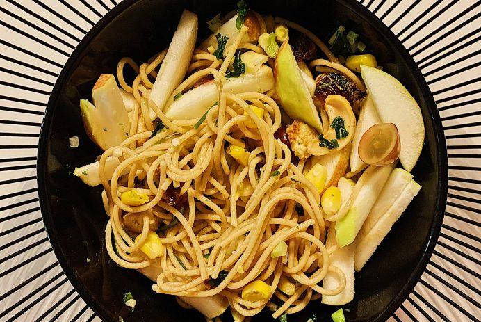 Spaghettis de légumes grillés et noix de cajou